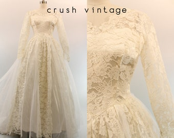50s Wedding Dress Lace Tulle XS / 1950s Lace Bridal Gown / Swept Away Gown