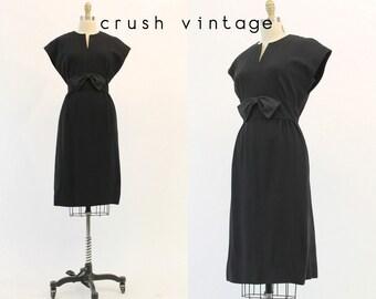 50s Dress Leslie Fay Original Medium / 1950s Vintage Dress /  Moonless Sky Frock