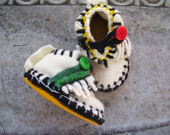 Hudson Baby Mocs Felted Wool Lined Sheepskin / Leather Soles Moccasins / Slippers / Booties / Shoes  -  Made to Order