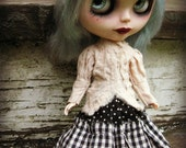 Blythe Steampunk Ensemble - 3-Piece Tea-Stained Cotton Blouse, Skirt and Petticoat - Black