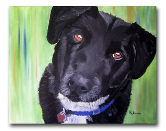 Black Dog Portrait Painting Limited Edition 8x10 Fine Art Print labrador retruever modern realism contemporary art small format art