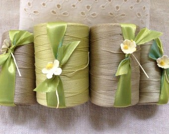 Spring Greens Vintage Sewing Threads