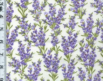 Fabric Timeless lavender flowers stalks on cream fragrant herb flowers  C2985