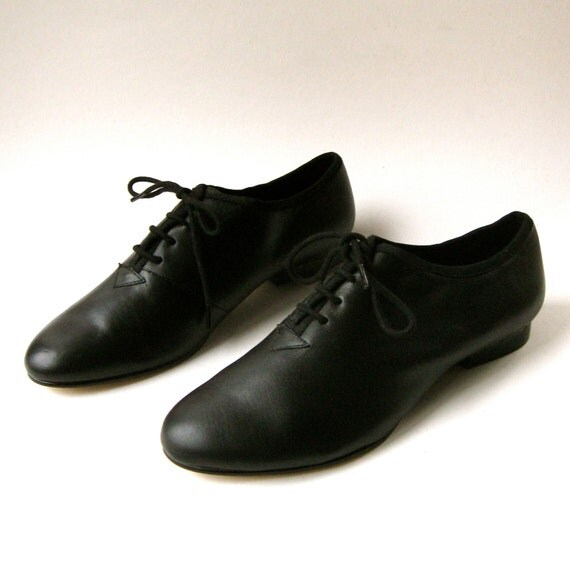 vintage black leather oxford jazz shoes nos by skinnyandbernie