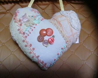 Small Peach Heart Crazy Quilt Pillow