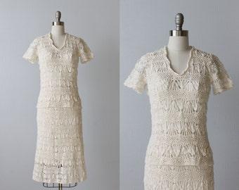 Vintage Crochet Dress / 1970s Crocheted Dress / Cotton Crochet Dress / Two Piece/ Vanilla
