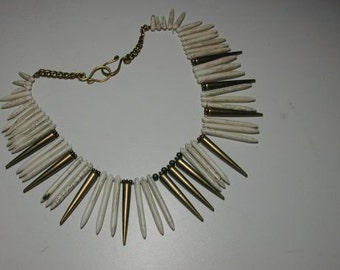 SALE ITEM.  White howlite spikes on brass necklace
