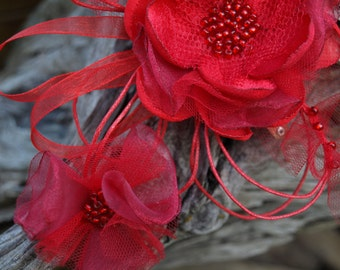 SALE Red Flower Brooch or Hair Clip. Romance