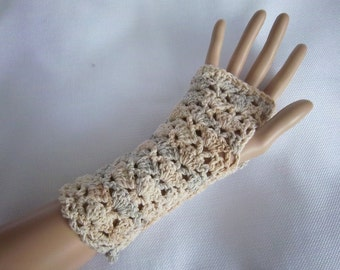 Lacy Fingerless Gloves in Cream - Ready To Ship Texting Gloves Stretch Gloves Stretch Arm Warmers Crocheted Gloves Women's Girl's Lace