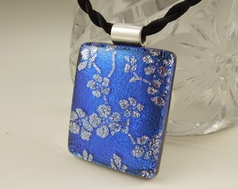 Blue And Silver Floral Necklace - Dichroic Fused Glass Pendant - Mosaic Pendant - Dichroic Glass - Dichroic Jewelry - Jewellry X6394
