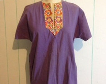 Purple Embroidered Peasant Top size 8-9