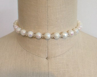 White Milky Aurora Borealis Vintage Choker Necklace