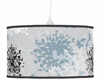 Lamp shade abstract chrysanthemum, drum pendant lamp shade or table lamp stand, hanging light shade, gray blue flower surface pattern design