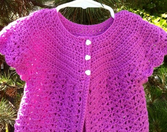 Baby sweater violet purple lavender with white buttons