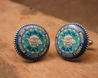 Upcycled Jewelry - Vintage MAY 1939 United Auto Workers Pinback Cufflinks - Unique, Rare, Great MAY Birthday Gift Idea
