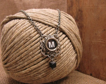 Typewriter Key Jewelry - Lucky Clover Authentic Black Initial M Typewriter Key Pendant Necklace