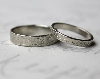 rustic vine wedding band ring set . 14k white gold leaf vine engraved wedding bands rings . always message gold wedding bands peacesofindigo