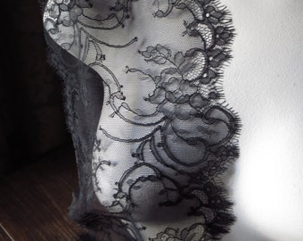 BLACK Eyelash Lace Chantilly Lace for Bridal Lace Caps, Gowns, Lingerie CH 4bl