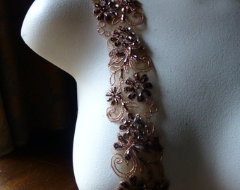 "Bronze Copper Beaded Trim 18""  for Lyrical Dance, Costume or Jewelry Design, Crafts"