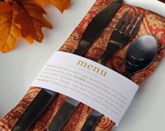 Dinner Napkin Menu Wrap - Custom - 2.25 x 11""