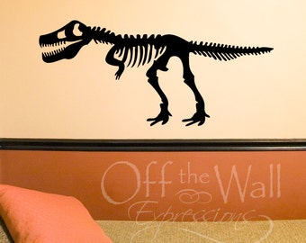 Tyrannosaurus Rex Skeleton TRex vinyl decal dinosaur wall decor dino decal for bedroom, school and more