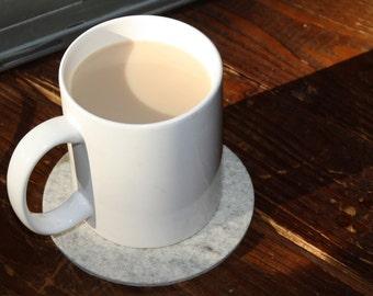 Round Coffee Coasters Mega Mug Rug 5mm Thick Wool Felt Fabric Oversized Extra Large Eco-Friendly Housewarming Hostess Gift Felted Barware