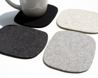 Cobblestones Drink Mug Set of Coasters Father's Day Gift for Him Wool Felt Coffee Coaster Large Man Cave Bar Decor Stuff, Barware