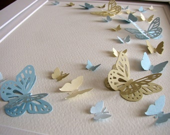8X10 Soft Cottage Palette 3D Butterfly Art / French Blue, Sand, Pale Blue, Cream / Paper Butterfly Wall Art / Made to Order