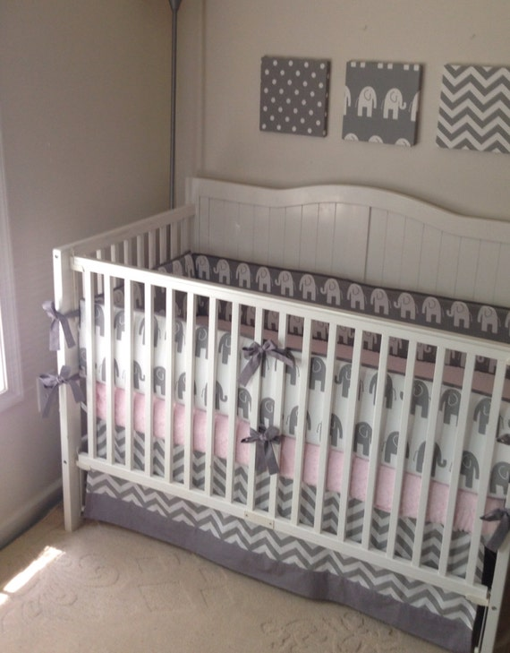 crib bedding set gray and white elephant by butterbeansboutique