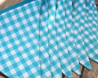 Aqua Gingham Birthday Banner Bunting Flags - BBQ, Farm Party, Farmyard, Barnyard Theme, Graduation, Baby Shower, Picnic - blue, white fabric