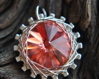 Spiro Mini Wire Wrapped Pendant - Rose Peach