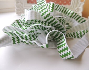 "5 Yards of 5/8"" Chevron Printed Fold Over Elastics FOE -  Green and White Chevron"