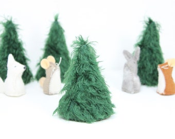 Mohair Pine Tree for Decor, Dollhouse, Play  Set, Scenery, or Nature Table - IN STOCK