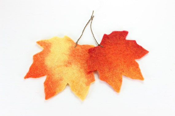 Fall Leaves Set of 2 - IN STOCK - Autumn Decor - Felted Wool