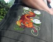 Koi Fish Messenger Bag (Charcoal Black)