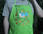 Blue Bird with Orange Berries Apron (Lime Green)