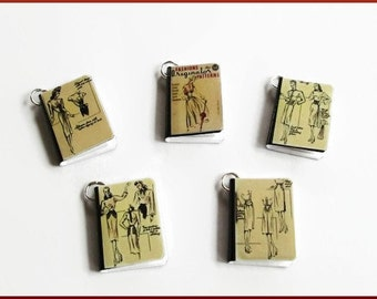 Fashion Sketches Miniature Book Charms Set of all 5 Vintage Style 1940's Fashionista