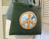 Green Peace Sign Tote Made on Vintage US Army Blanket