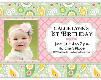 First Birthday Invitation, Birthday Photo Card, custom design for YOU, Paisley First Birthday Invitation, 1st Birthday Invite, peach chevron