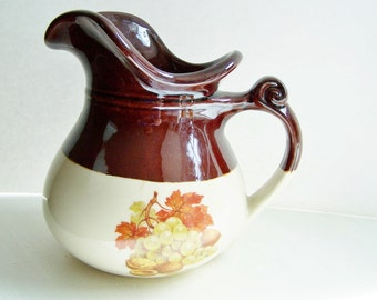Vintage McCoy Pitcher, Harvest Fruit, Fall Fruit, McCoy Fruit Festival Water Pitcher Home Decor, Ceramic Pottery, Retro Decanter, Housewares