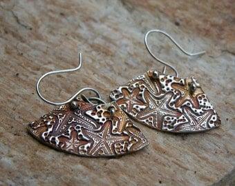 fan shaped starfish earrings fine silver