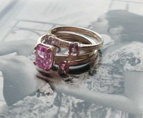 Handmade Pink  Sapphire Sterling Silver Engagement Ring Set with 2 Ring Guards, Sz 7 Wedding Set Solitaire