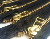 YKK metal zippers with gold brass teeth and DHR Wire style pull- (5) pieces - Black Color 580- Available in 6, 7, 9,11  and 16 inches