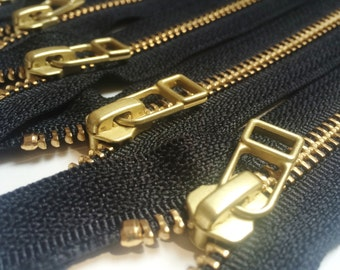 YKK metal zippers with gold brass teeth and DHR Wire style pull- (5) pieces - Black Color 580- Available in  7, 9,11  and 16 inches