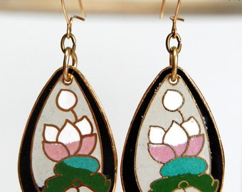 Vintage Component Cloisonne Flower Teardrop Earrings, Flower Earrings, Cloisonne Earrings