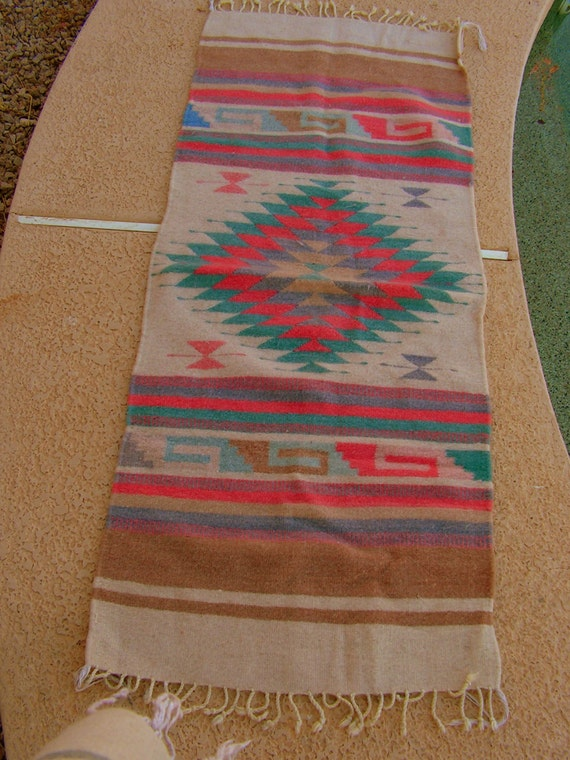 Vintage Zapotec Mexican Blanket Rug Coral Teal Golden Brown
