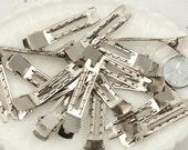 Alligator Clips - 47mm Double Prong Super Grip Alligator Hair Clips, silver plated - 20 pc set
