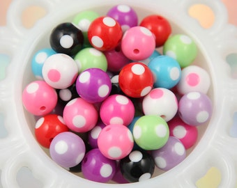 Chunky Resin Beads - 15mm Cute Mixed Color Polka Dot Resin Beads - 10 pc set