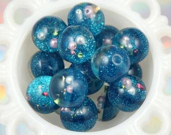 25mm Aqua Blue Crystal Ball Resin Beads - 6 pc set