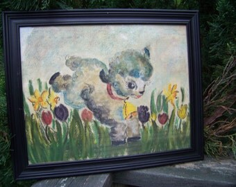 Vintage Colored Chalk Drawing...Lamb Playing in Flowers..Mid Century..Original Hand Drawn...OOAK...Baby Nursery Wall Art...Nursery Rhyme Art